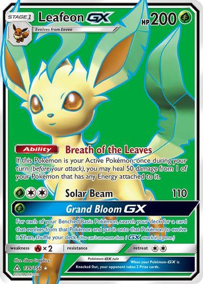 Ultra Rare Sun /& Moon Ultra Prism Pokemon NM Leafeon GX 13//156